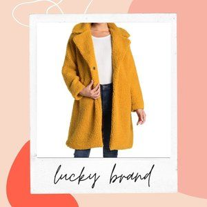 Lucky Brand Faux Shearling Mid Jacket Size M